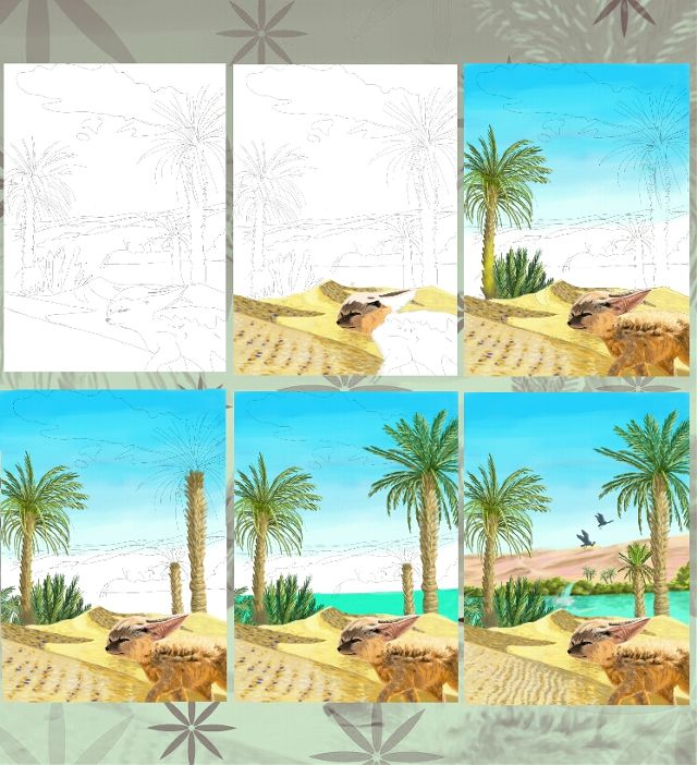 how to draw an oasis step by step