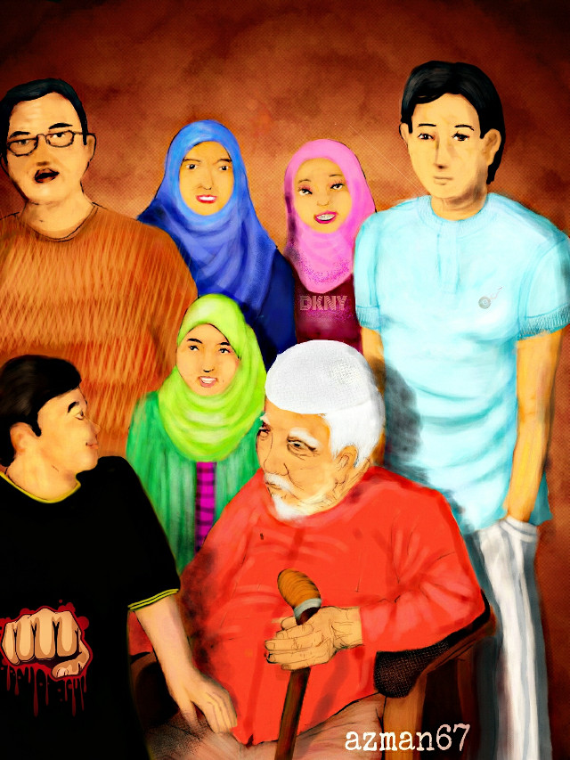 Portrait of my family painted in picsart. #dcfamilyportrait #drawing #art #hdr #people #colorful